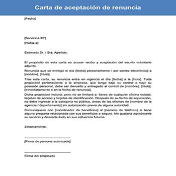 Carta de aceptación de renuncia